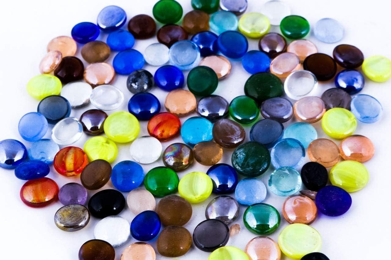 The Glass Pebble Shop - Piedras de Cristal (1 kg, Aprox. 200 Unidades) Lote de 1 kg de Piedras de Cristal Decorativas, Color Mezclado