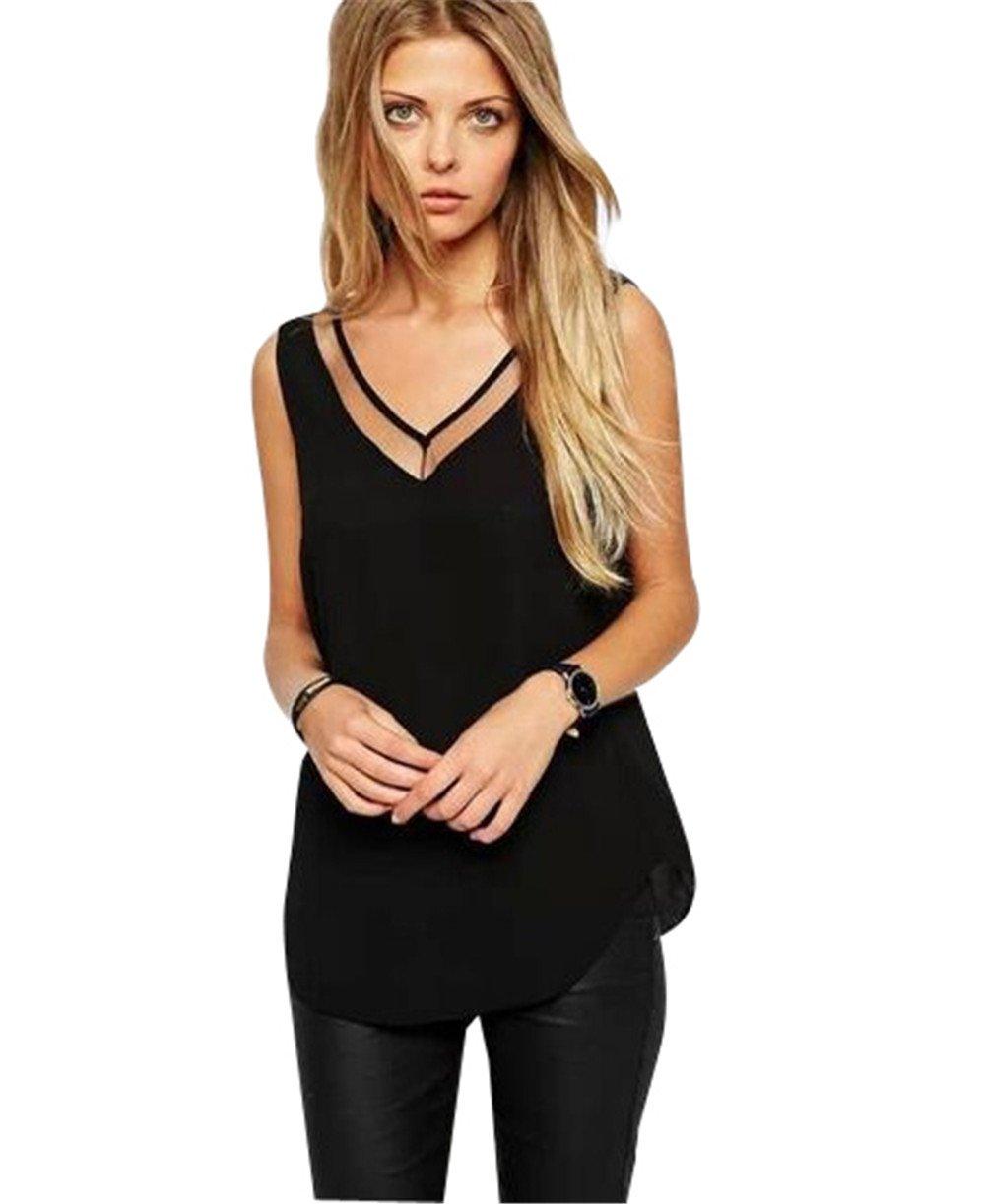 PZJ Mujeres Verano Playa Negro Blusa Camisa sin Mangas para Mujer Ocasional de la Gasa del Chaleco de la Blusa de Las Tapas del Tanque de la Camiseta