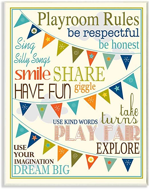 Proudly Made in USA 10.25 x 0.5 x 14.75 Stupell Home D/écor Playroom Rules With Pennants In Pink Rectangle Wall Plaque