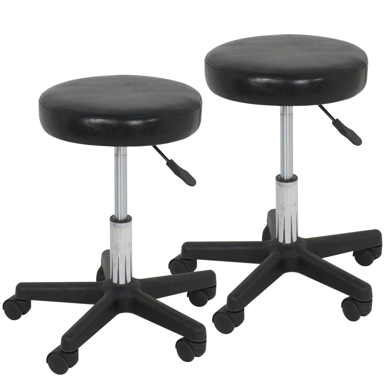 F2C Leather Adjustable Bar Stools Swivel Chairs Facial Massage Spa Salon Stool with Wheels White/Black (2PCS Black)
