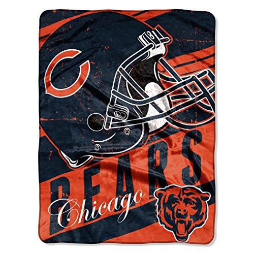 The Northwest Company NFL Chicago Bears Deep Slant Micro-Raschel Throw, Orange, 46 x 60-Inch