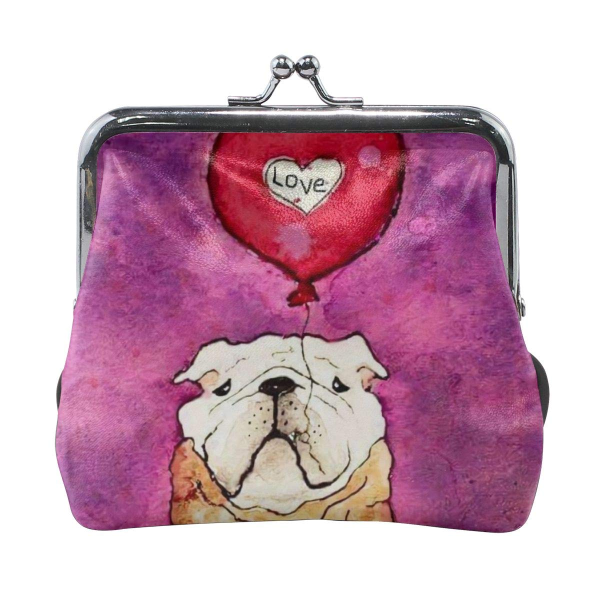 British Bulldog Love Valentines Day Vintage Pouch Girl Kiss-lock Change Purse Wallets Buckle Leather Coin Purses Key Woman Printed