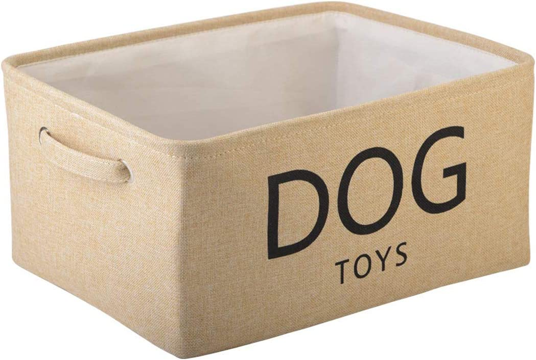 Pethiy Canvas Dog Toy Basket Basket with Handles for Clothes Storage for Dogs Toy Storage,Toy bin,Dog Toy bin,Pet Toy and Accessory Storage Bin-Beige