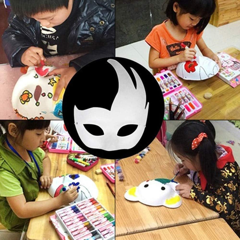 Takefuns 12 Pcs White Masks DIY Masquerade Masks Plain Halloween Half Face Masks,Paintable Paper Mask Dress-Up Party Supplies for for Kids Cosplay Mardi Gras
