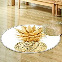 Round Rugs for Bedroompineapple in gold isolated on white background Circle Rugs for Living Room-Round 71