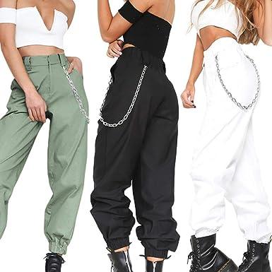 Pengyu Pantalones De Mujer De Color Solido Con Bolsillos Elasticos Con Cadena Pantalones Para Mujer Color Verde Militar S Amazon Es Ropa Y Accesorios