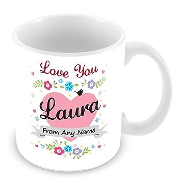 Taza personalizada con nombre Laura - de corazón con diseño de flores (personalizable - personalizable, para fotografías con varios bolsillos, ...