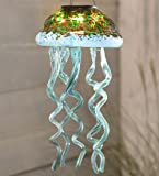 Solar Glass Jellyfish Mobile Decorative LED Pendant Mottled Colors Hanging Sea Creature 8 Dia. x 17H