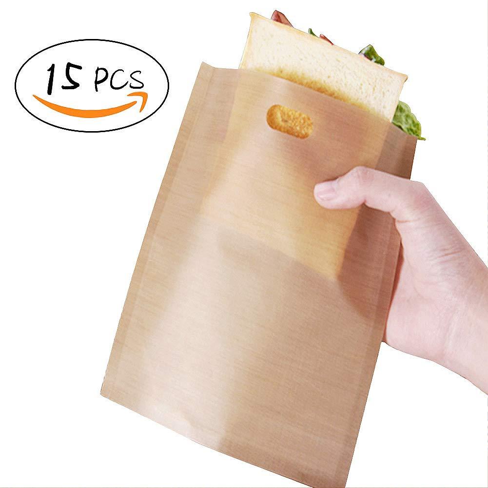 wiederverwendbar Toaster Taschen, Antihaft, Sandwich Taschen Toastie aufwä rmbar Toastabags, 19 x 17 cm, 15 Stü ck LFS