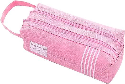 WAWJ Large Capacity 2 Bolsillos Estuche, Store Portalápices para Niños Mujeres Niños Estudiantes Bolsa de cosméticos Bolsa Mujer (Rosado): Amazon.es: Juguetes y juegos