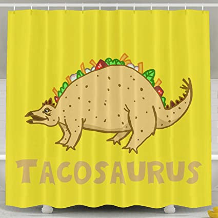 Image Unavailable Not Available For Color HITRYEFG Tacosaurus Taco Dinosaur Bath Curtain With Hooks
