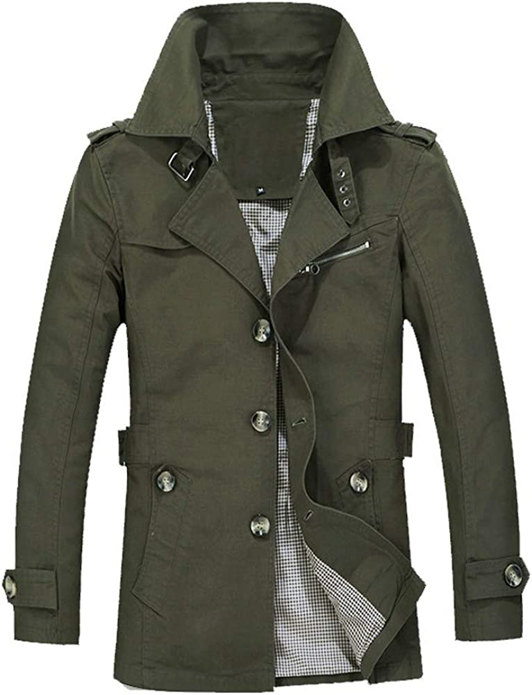 Balakie Plus Size Outwear Solid Slim Buttons Parka Long Coat Mens Spring Jacket