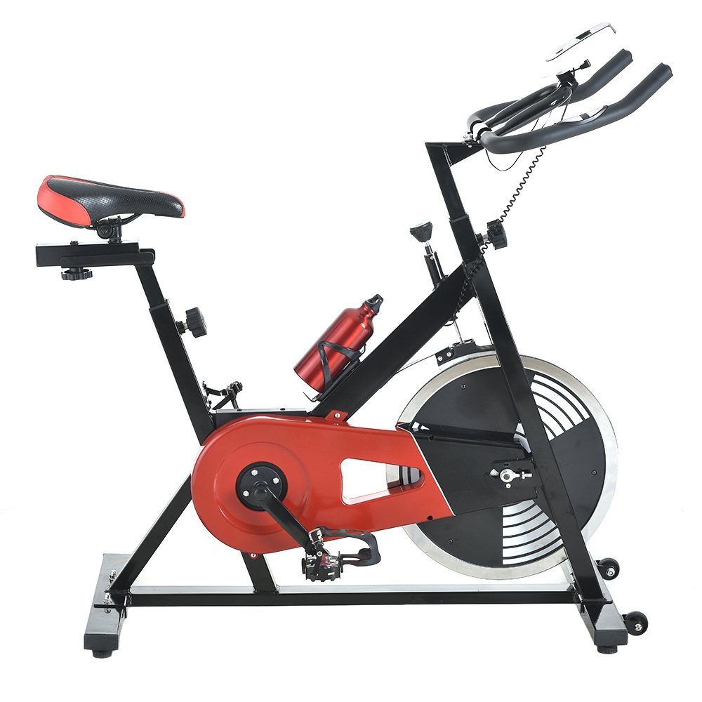 Z ZTDM Commercial Indoor Cycling Bike, Professional Spinning Bike - 33lbs Flywheel, LED Monitor,Black & Red, Stationary Exercise Bike Trainer,Aerobic Cadio Riding