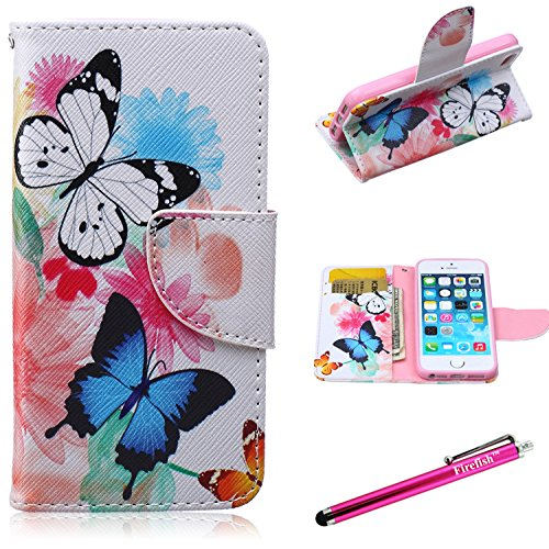 - iPhone 5 Case,5S SE Firefish [Kickstand] iPhone 5 Case Leather Wallet Bumper Slim Shock Absorption [Magnetic Closure] for Apple iPhone 5/5S/SE - Butterflies