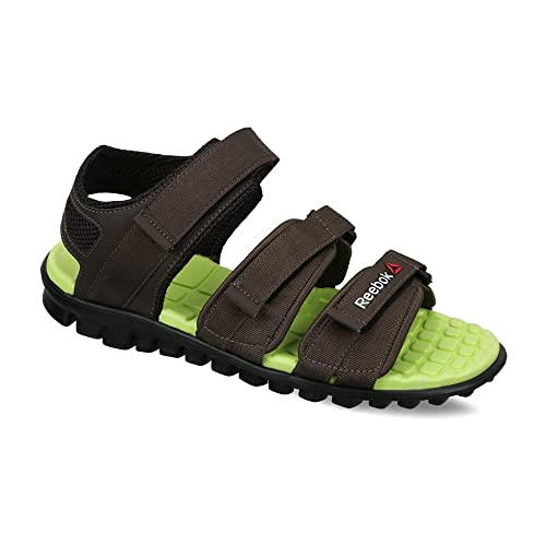 f048dfc5c Reebok Men s Chrome Flex Stone and Hi Vis Green Athletic   Outdoor Sandals  - 10 UK