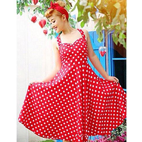 June's rückenfreie Stil kleid Damen Kleid Polka Dot gepunktetes sexy Young Faltenkleid Rot Kleid ärmelloses Retro kleider kleider rqAwRr6