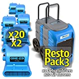 BlueDri RestoPack3 BD-LGR75C Commercial Dehumidifiers (x2) One-29 Air Mover Blue (x20)
