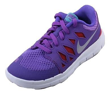 reputable site 9aa57 1fa2c Nike Free 5.0 PS Girls Youth Purple Vnm Mtllc Silver Trb Green Lt Sneakers  Purple Venom turbo Green lt Crimson metallic Silver) 2 M US Little Kid  ...