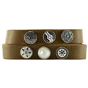 Quiges - 12mm Snap Button Bracelet Brown with 6 Snap Buttons Set #43