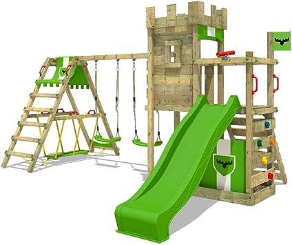 FATMOOSE Parque infantil de madera BoldBaron Boost XXL con columpio SurfSwing y tobogán, Torre de escalada da exterior con arenero y escalera para ...