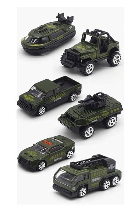 HorBous Modelos de Vehículos del Ejército de Aleación de Juguetes de Coches, Mini Ejército de Jeep, Panzer, Camionetas, etc. 6 Instaló Escala del ...