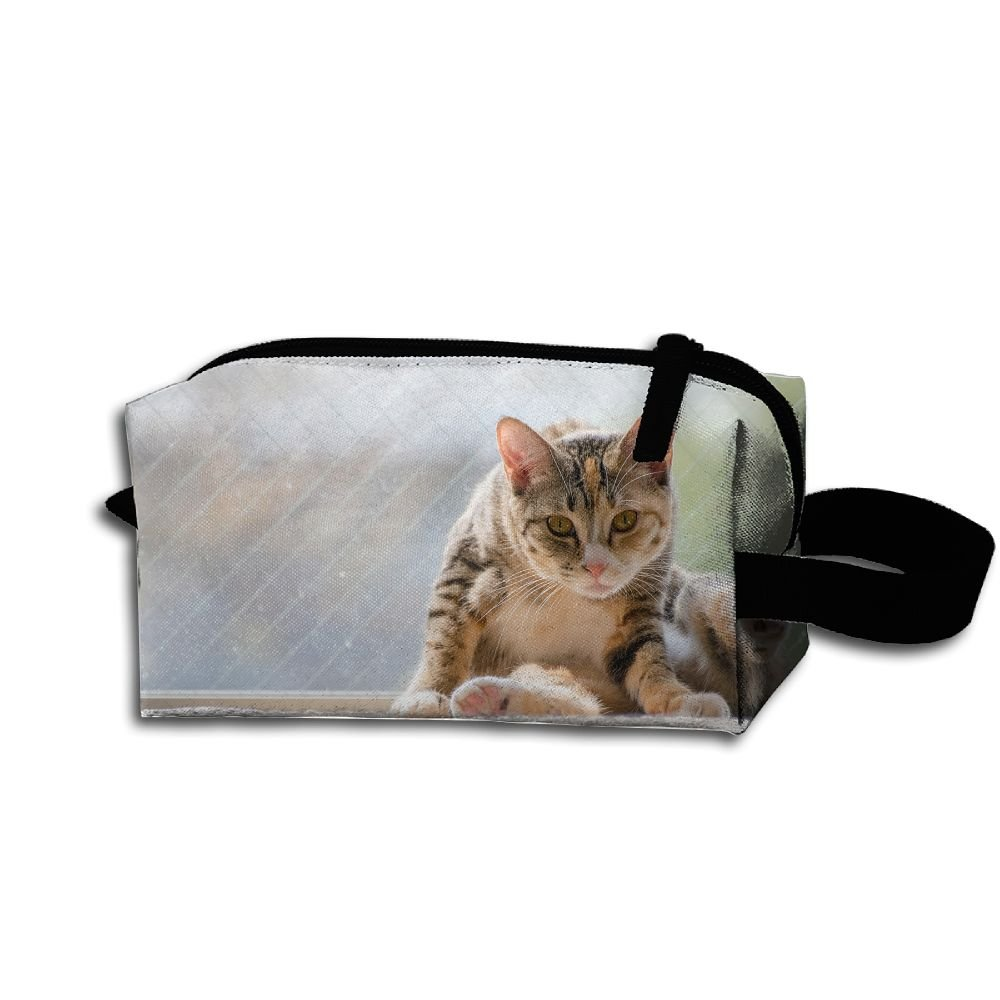 Makeup Cosmetic Bag Cat Sitting Window Zip Travel Portable Storage Pouch For Men Women