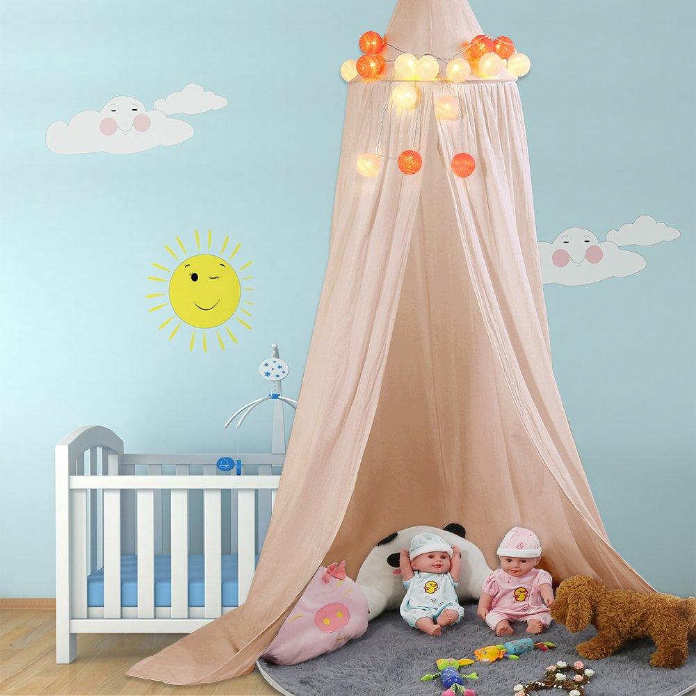 Children Bed Canopy Round Dome Mosquito Net Hanging Curtain Baby Kids Bedroom Accessories (White) ZJchao zjchao-20170102-1-1