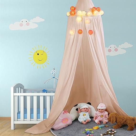 ZJchao - Dosel para cama de algodón para uso como tela decorativa, tienda de juegos para bebé o mosquitera, con buena circulación de aire, herramientas de ...