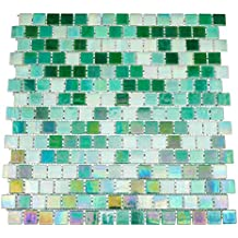 URBN Contemporary Mixed Green Iridescent Glass Mosaic Tile with Staggered Design for Kitchen and Bath - Single Sheet (13 inches x 13 inches, 1.15 SQ FT)