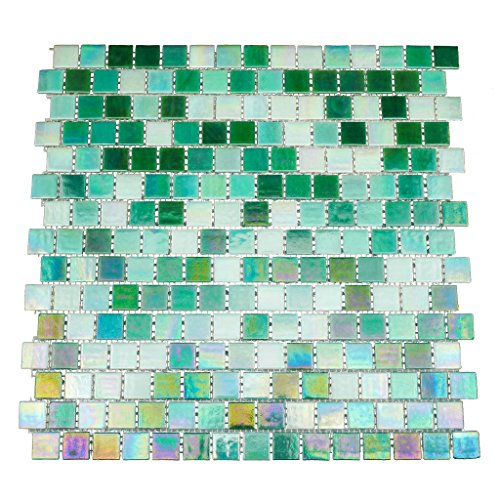 URBN Contemporary Mixed Green Iridescent Glass Mosaic Tile with Staggered Design for Kitchen and Bath - Sample Tile (4-1/3 inches x 4-1/3 inches, 0.13 SQ ()