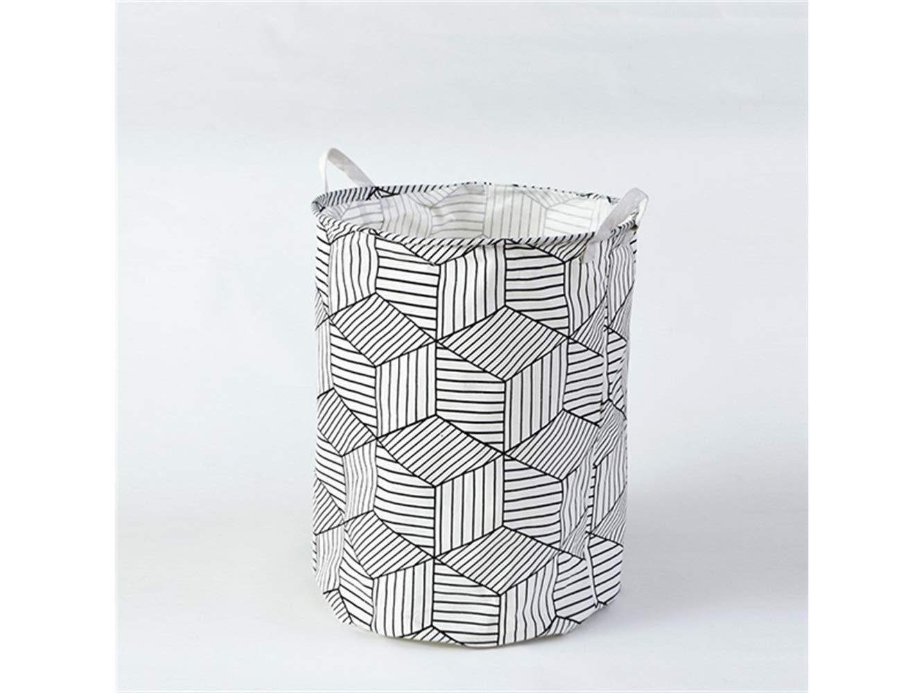 Yunqir Storage Box Cube Pattern Storage Box Laundry Basket Cotton and Linen Storage Box (White)