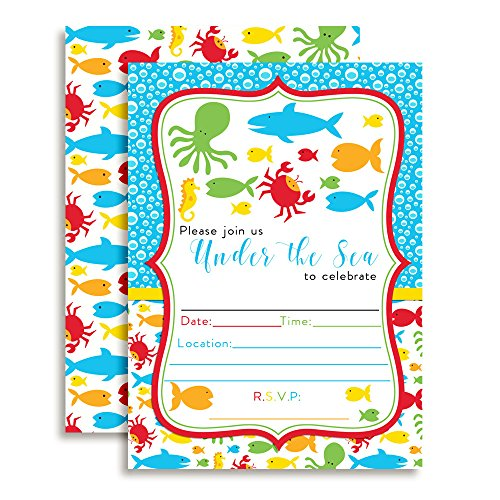 Under the Sea Birthday Party Fill in Invitations Set of 10 Including White Envelopes