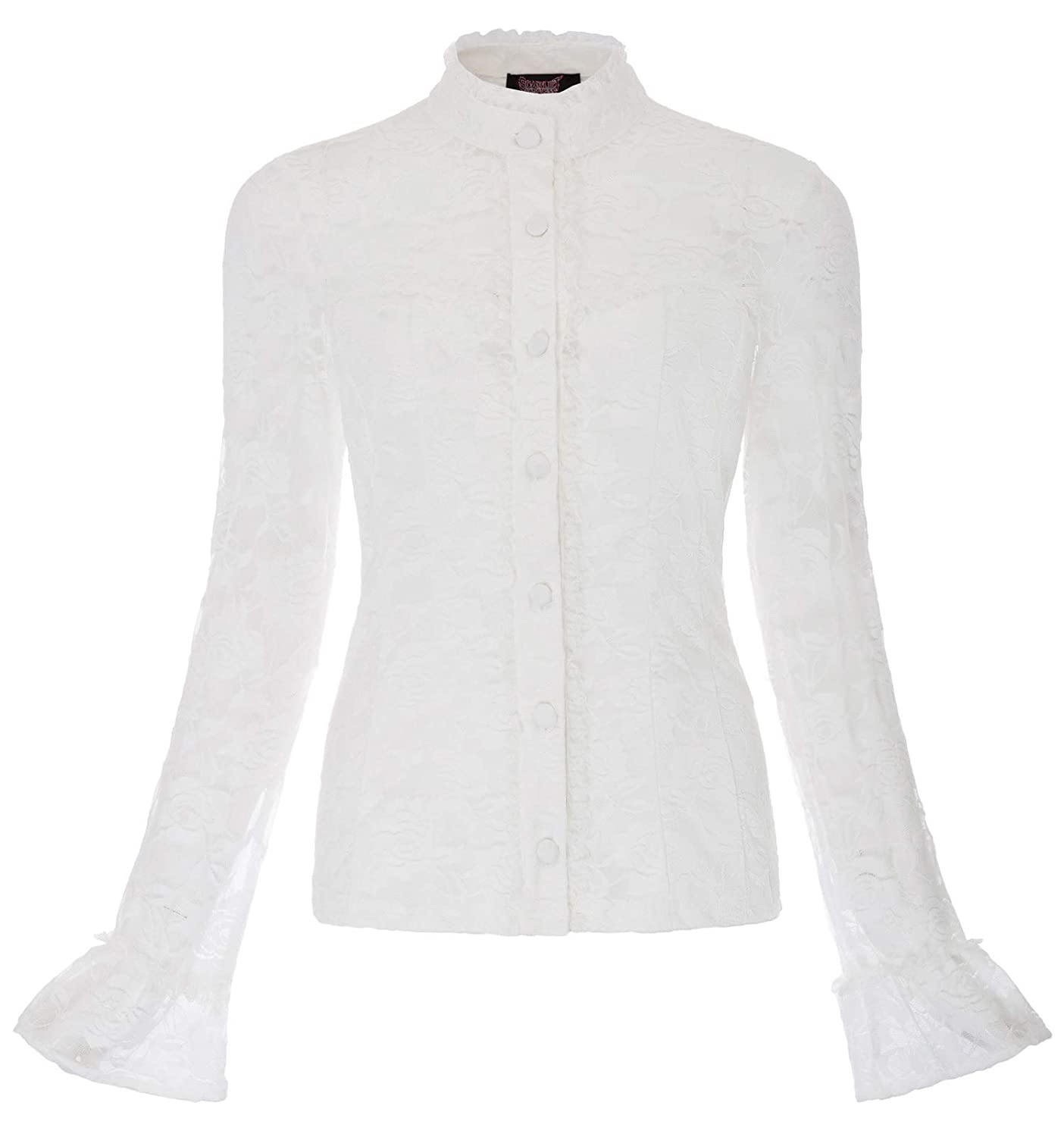 Victorian Blouses, Tops, Shirts, Sweaters Women Vintage Gothic Long Sleeve Stand Collar Patchwork Lace Tops $9.99 AT vintagedancer.com