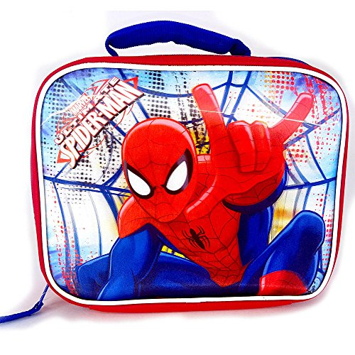 Marvel Kid's Boy's 3D Spider-Man Rectangular Insulated Lunch Bag Box with Reflective Strips