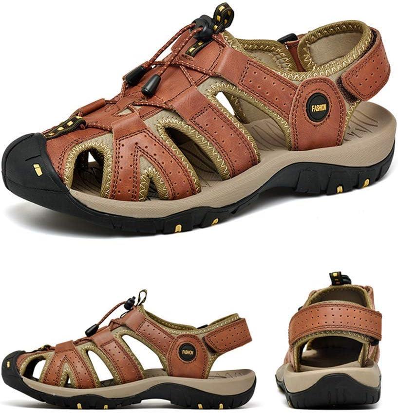 ZTT Sandalias De Baotou De Los Hombres Al Aire Libre, Sandalias Grandes Sandalias Planas del Tamaño, Zapatos para Caminar Velcro 38-45 Brown
