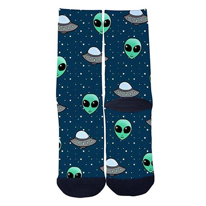 7bc3ca55341d TheFun-Z Custom UFO and Aliens Socks Novelty Funny Cartoon Crew Socks Elite  Casual Socks at Amazon Men's Clothing store: