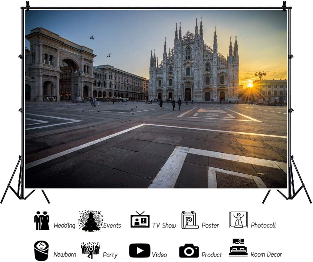 YEELE 12x8ft Duomo Cathedral Backdrop Italy City Landscape in Morning Photography Background Scenic Cityscape Europe Travel Theme Kids Adults Artistic Portrait Photoshoot Studio Props