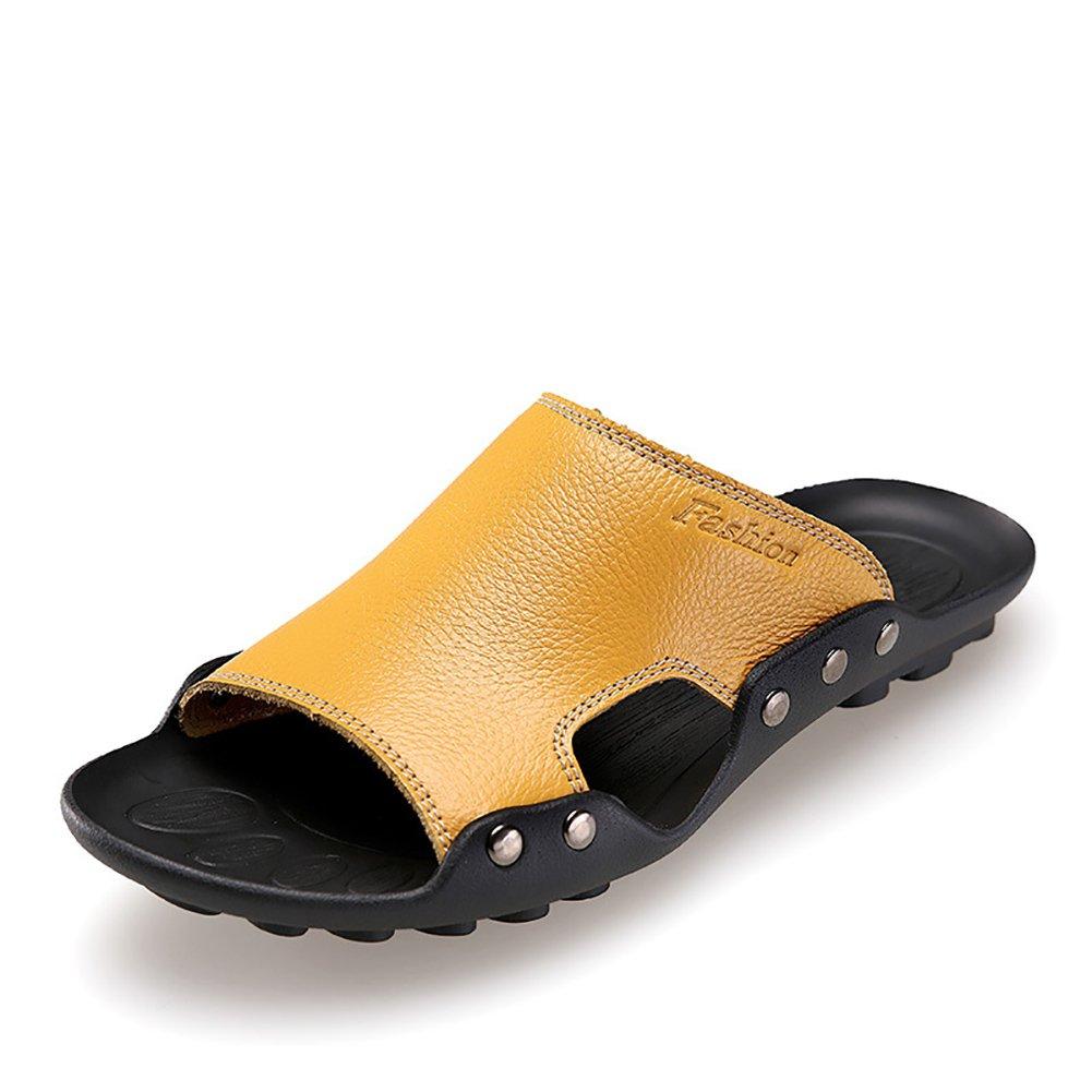 Slipper Man Sandalias con correa de tobillo Zapatos de playa Open-Toe Designed Soft Antiskid Cómodo Vintage (Color : Amarillo, Tamaño : 39) 39|Amarillo