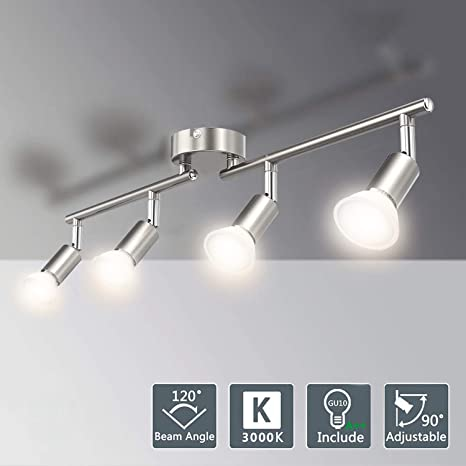Matte Nickel Kitchen Ceiling Lights.LED Ceiling Spotlights for Kitchen  (Warm White). Eye-Care Ceiling Spot Lights with Bar for Bedroom, Rotatable.  (4 ...