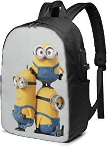 KRISMARIO Minions Durable Travel Backpack School Bag Laptops Backpack with USB Charging Port for Men Women