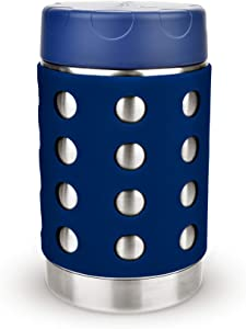LunchBots Thermal 16 oz Triple Insulated Food Container - Hot 6 Hours or Cold 16 Hours - Leak Proof Thermos Soup Jar - All Stainless Interior - Navy Lid - Navy Dots