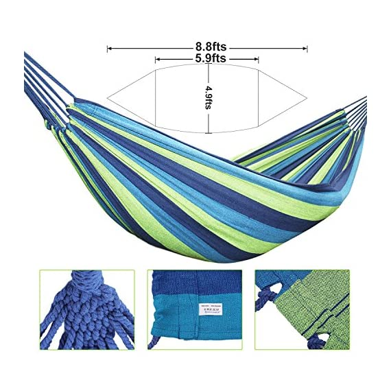 AC Doctor INC Outdoor Leisure Double 2 Person Cotton Hammocks 450lbs Ultralight Camping Hammock with backpack - Dimensions: 110 inch Long x60 inch Wide,Bed Size: 75inch *60Inch Maximum support weight:450 lbs(two person),blue color. Durable and comfortable, Lightweight, strong, and easy to assemble - patio-furniture, patio, hammocks - 61DjimjKTeL. SS570  -