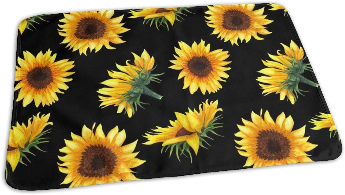 Yunshm Portable Diaper Changing Pad Foldable Large Waterproof Changing Mat Changing Table Padfor Girls Boys with Sunflowers On Black Background Personalized