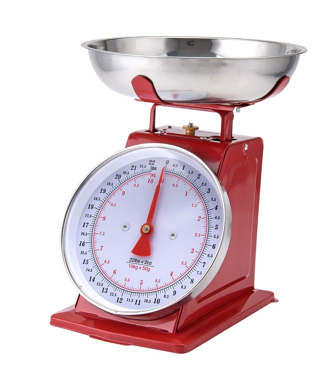 Kitchen Scale White Metal With A Stainless Steel Tray (22-Pound) (RED) by Chefcaptain