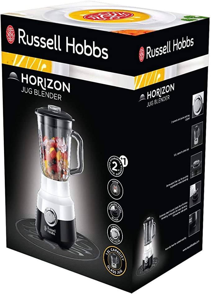 Russell Hobbs Horizon - Batidora de Vaso (Jarra Cristal, Batidora ...