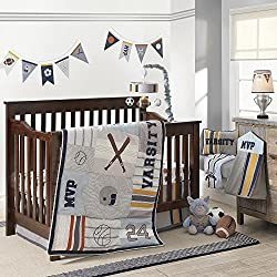 Varsity Gray/Blue Sports 4 Piece Baby Crib Bedding Sets