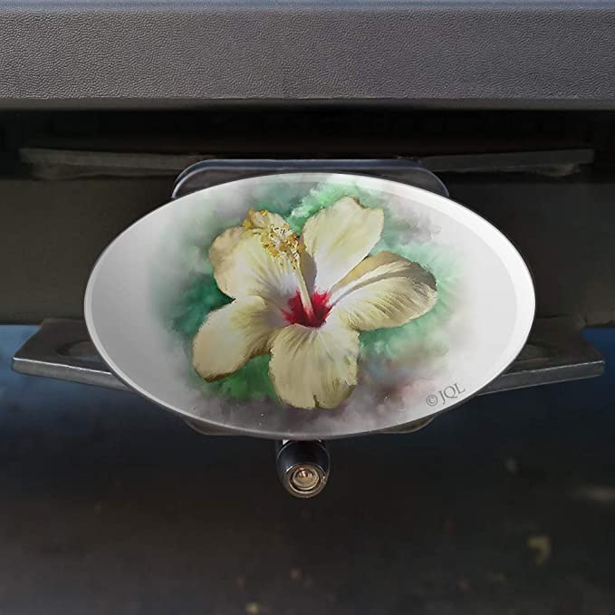 Graphics and More Tropical Yellow Hibiscus Flower Hawaiian Vacation Oval Tow Hitch Cover Trailer Plug Insert 2