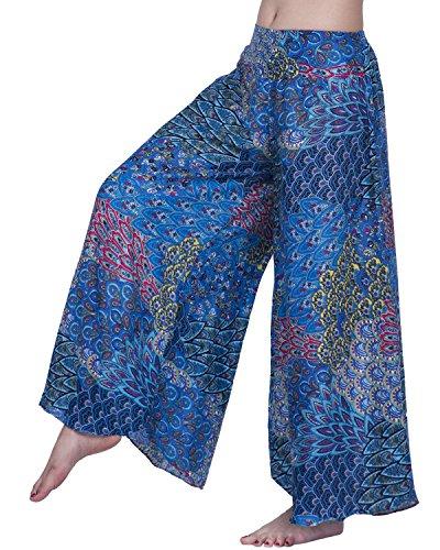 Silk Linen Pants - Rita & Risa Womens Elastic Waist Boho Style Peacock Tail Printed Loose Palazzo Pants, Medium, Blue