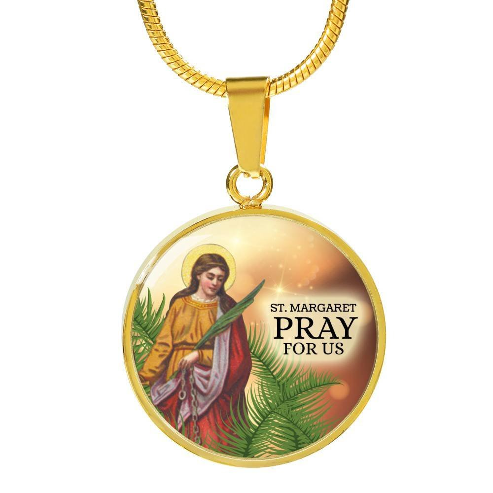Margaret Catholic Jewelry Stainless Steel-Silver Tone or 18k Gold Finish-Pendant Necklace Adjustable 18-22 w Free Luxury Gift Box Express Your Love Gifts St