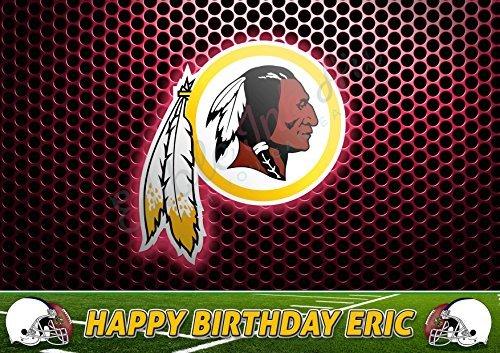 (Washington Redskins NFL Edible Cake Topper Personalized Birthday 1/4 Sheet Decoration Custom Sheet Party Birthday on Wafer Rice Paper)
